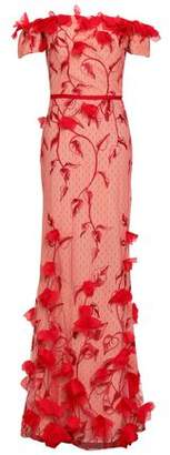 Marchesa Off-the-shoulder Floral-appliqued Embroidered Point D'esprit Gown