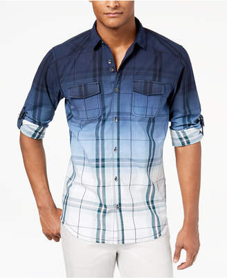 INC International Concepts I.n.c. Men Dip-Dyed Plaid Shirt