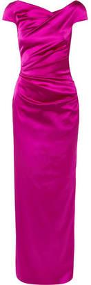 Talbot Runhof Off-the-shoulder Gathered Gazar Gown - Magenta