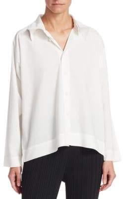 Issey Miyake Women's Pleated Collar Button-Down Shirt - White