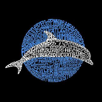 LOS ANGELES POP ART Los Angeles Pop Art Women's Raglan Word Art T-shirt - Species of Dolphin