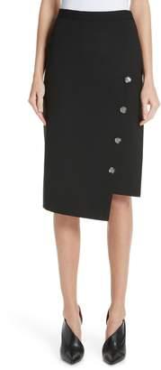 Altuzarra Button Detail Slit Stretch Wool Pencil Skirt