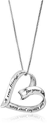 "Sterling ""A True Friend Reaches For Your Hand But Touches Your Heart"" Ribbon Heart Pendant Necklace"