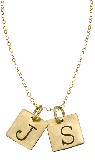 Sweet Pea Urban Sweetpea Double Square Personalized Capital Initial Necklace