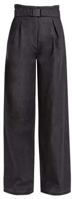 No.21 No. 21 - High Rise Wide Leg Cotton Blend Trousers - Womens - Indigo