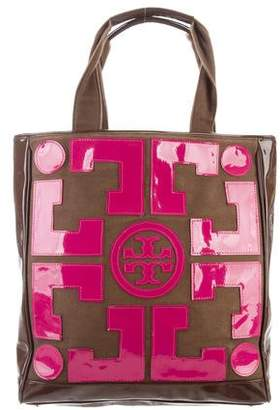 Tory Burch Logo Patent Leather Tote