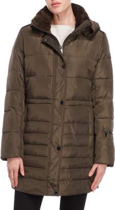 Rachel Roy Sherpa Trim Hooded Down Coat