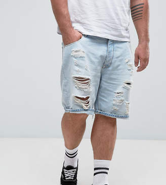 Asos PLUS Slim Denim Shorts In Light Bleach Wash Blue with Rips