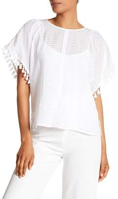 Vince Camuto Textured Check & Tassel Trim Blouse