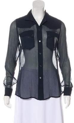 Equipment Sheer-Silk Long Sleeve Top