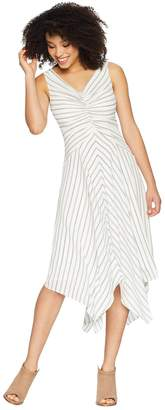 Maggy London Rope Stripe Printed Crepe Tuck Front Dress with Asymmetrical Hem Women's Dress