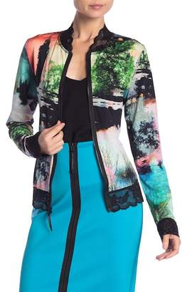 Petit Pois Patterned Lace Trim Bomber Jacket