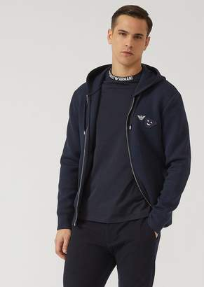 Emporio Armani Fancy Collection Hooded Sweatshirt With Emoticon Patches