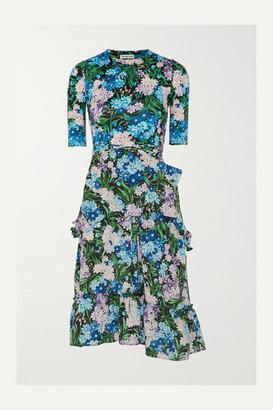 Balenciaga Gathered Floral-print Jersey And Crepe Dress - Blue