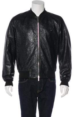 Christian Dior Coated Cracked Leather Bomber Jacket