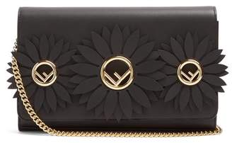 Fendi Flower And Logo Embellished Leather Clutch - Womens - Black