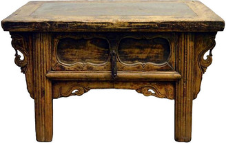 One Kings Lane Vintage Antique Wood Table with Ming Inset Stone - FEA Home
