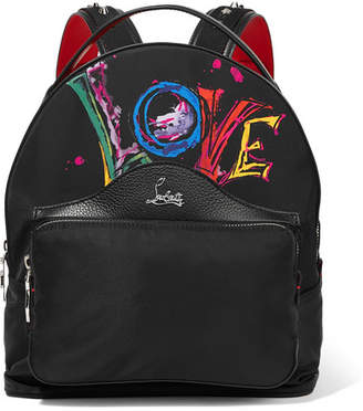 Christian Louboutin Backloubi Studded Textured Leather-trimmed Printed Shell Backpack - Black