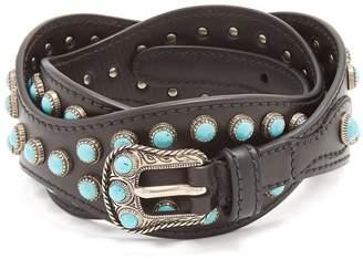 Prada Stone-embellished wavy leather belt