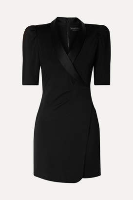 Alice + Olivia Alice Olivia - Remi Wrap-effect Satin-trimmed Stretch-jersey Mini Dress - Black
