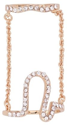 Xo X & O 14KT Rose Gold Plated Omega Double Chain Ring ***