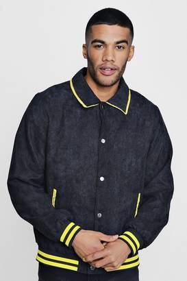 boohoo Corduroy Sports Rib Bomber Jacket