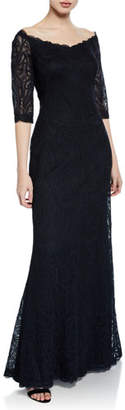 Tadashi Shoji Off-the-Shoulder Elbow-Sleeve Lace Column Gown
