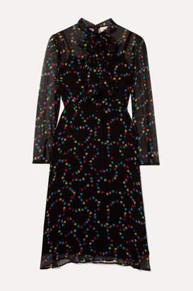 HVN Elisa Pussy-bow Printed Silk-chiffon Midi Dress - Black