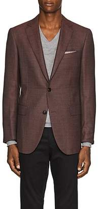 Pal Zileri MEN'S CHECKED WOOL TWO-BUTTON SPORTCOAT - RED SIZE 42 S