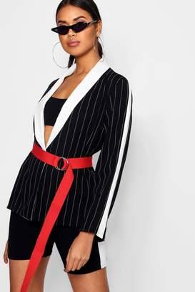 boohoo Contrast Pinstripe Blazer