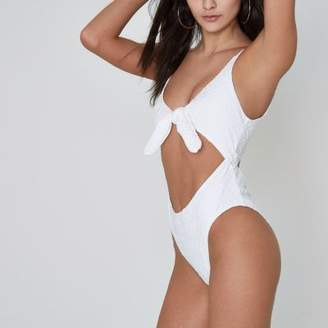 River Island Womens White textured knot front cut out swimsuit