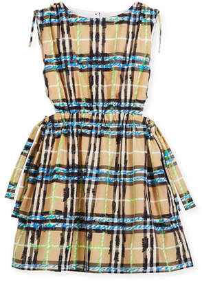 Burberry Candra Cutout Tie Check Scribble Dress, Size 4-14