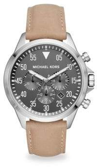 Michael Kors Gage Stainless Steel Taupe Leather Chronograph Watch