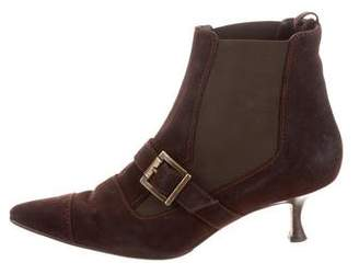 Manolo Blahnik Suede Buckle-Accented Ankle Booties