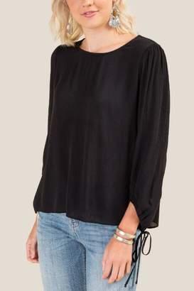 francesca's Desiree Long Sleeve Blouse - Black