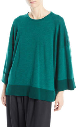 eskandar Round-Neck Long-Sleeve Hand-Loomed Merino Wool Top w/ Contrast Hem