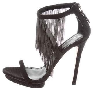 Brian Atwood Suede Fringe-Embellished Sandals