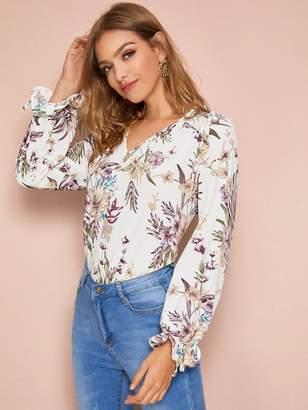 Shein V-neck Ruffle Detail Floral Print Blouse