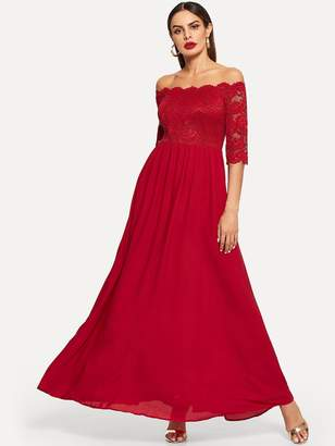 efa3c3e9262 Shein Lace Bardot Top Flowy Maxi Prom Dress