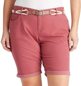 Gloria Vanderbilt Plus Size Joslyn Belted Bermuda Jean Shorts