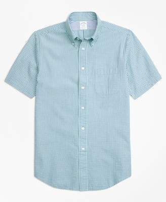 Brooks Brothers Regent Fit Stripe Seersucker Short-Sleeve Sport Shirt