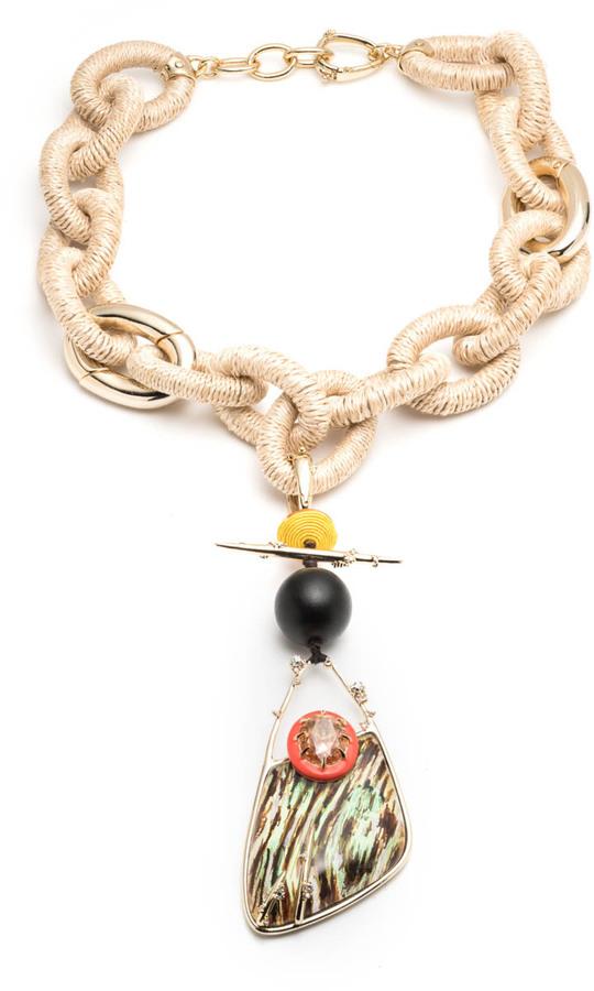 Alexis BittarRaffia Link Necklace with Wood Grain Pendant