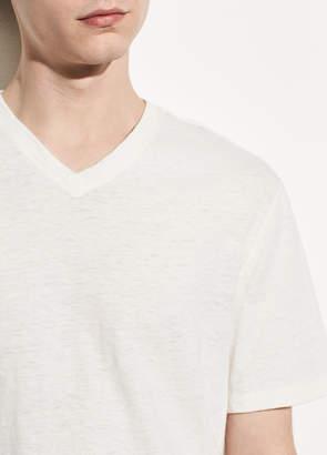 Vince Side Slit Cotton and Linen V-neck