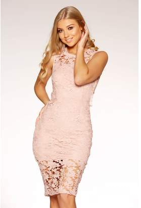 Quiz Blush Lace Cut Out Midi Dress