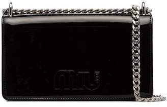 Miu Miu Black Logo Patent Leather Crossbody Bag