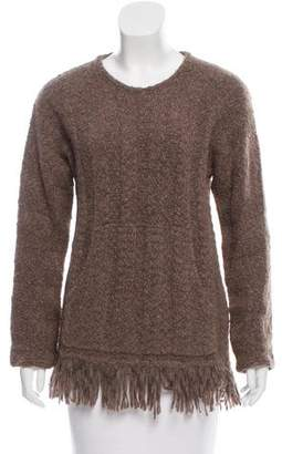 Raquel Allegra Fringe-Trimmed Alpaca Sweater w/ Tags