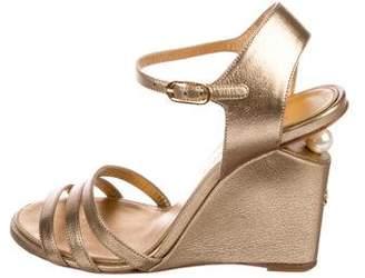 Chanel Embellished Wedge Sandals
