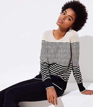LOFT Petite Striped Refined Scoop Neck Sweater