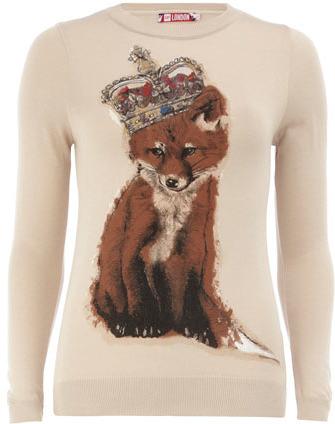 Oatmeal fox jumper