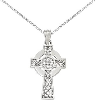 Celtic Generic 14k White Gold Cross Pendant w/ 18in chain